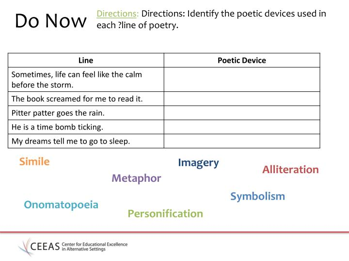 Directions directions identify the poetic devices used in each line of poetry