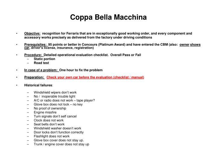 Coppa Bella Macchina