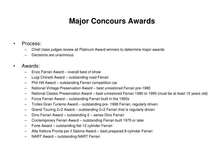 Major Concours Awards