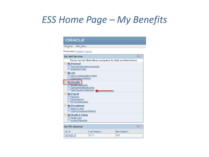 Ess home page my benefits