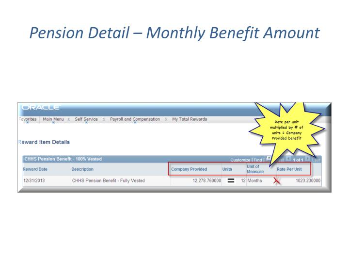 Pension Detail – Monthly Benefit Amount