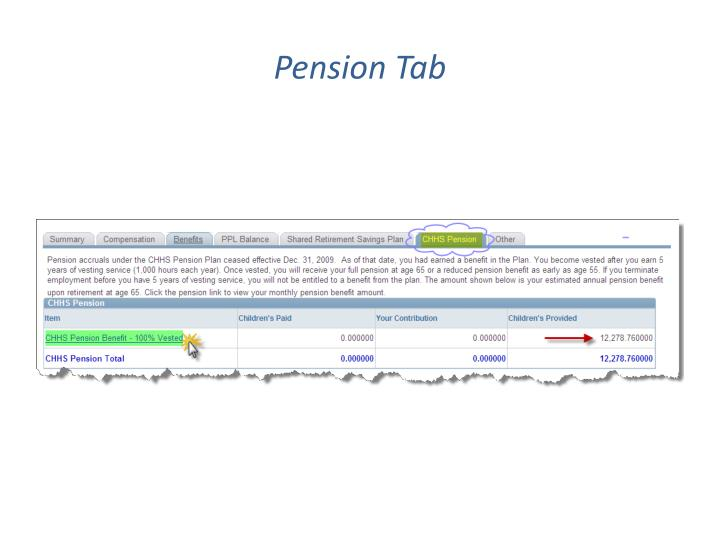 Pension Tab