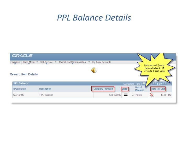 PPL Balance Details