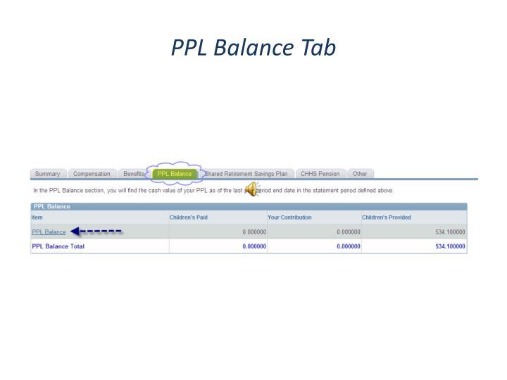 PPL Balance Tab