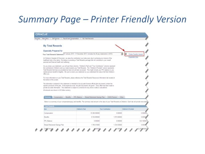 Summary Page – Printer Friendly Version