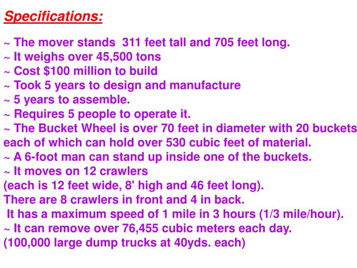 Specifications: