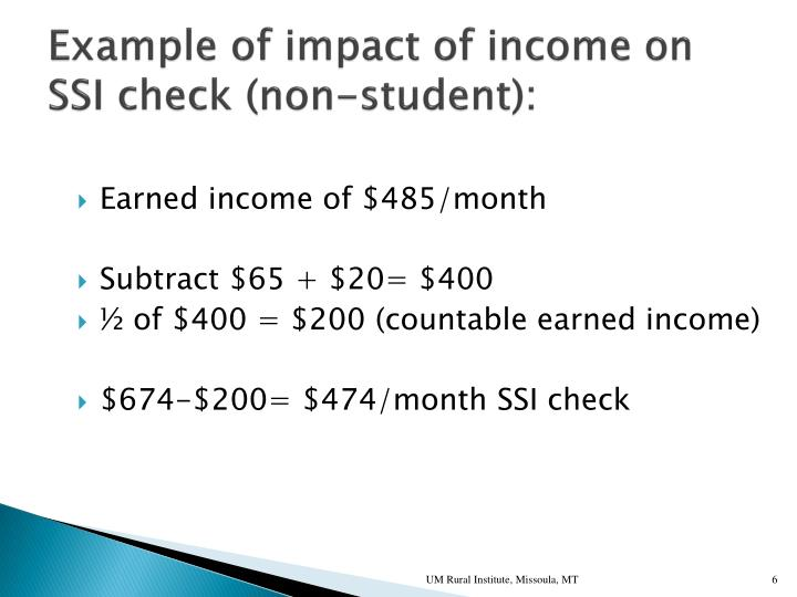 Example of impact of income on SSI check (non-student):