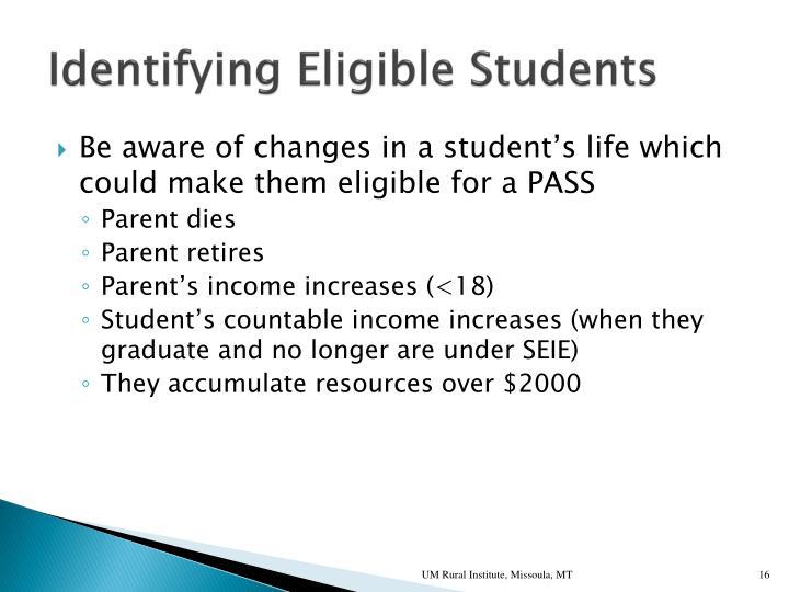 Identifying Eligible Students