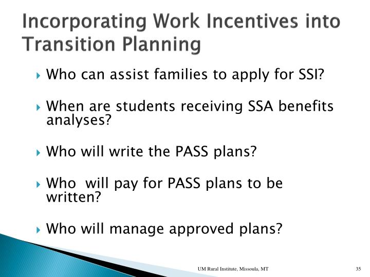 Incorporating Work Incentives into Transition Planning