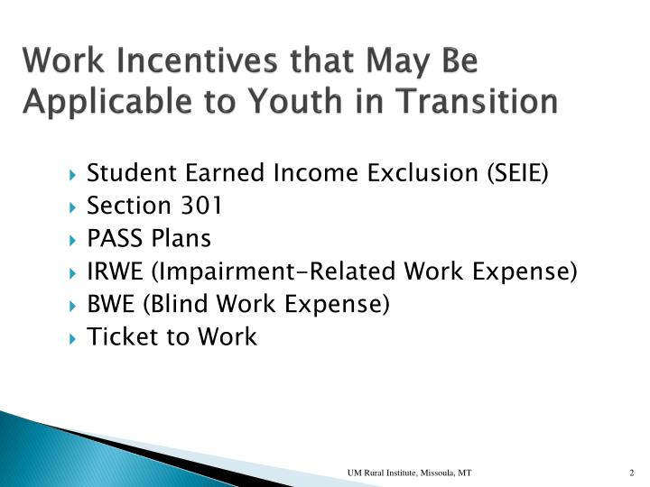 Work Incentives that May Be Applicable to Youth in Transition