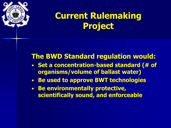Current Rulemaking Project