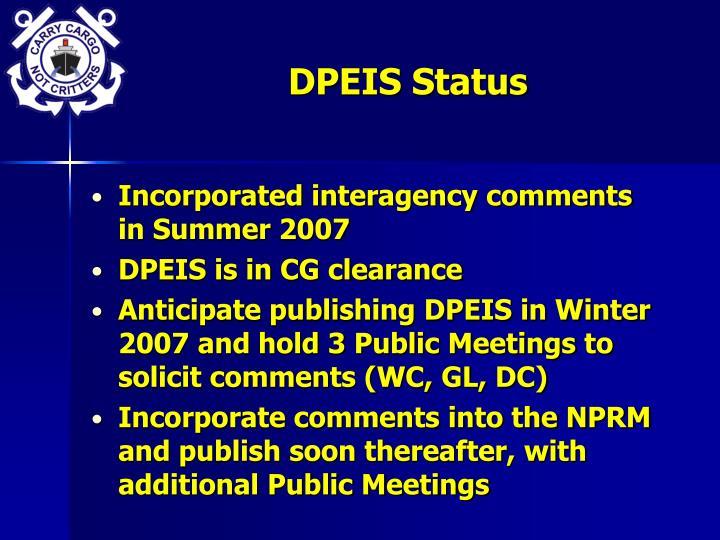 DPEIS Status