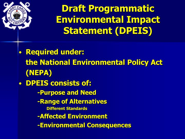 Draft Programmatic Environmental Impact Statement (DPEIS)