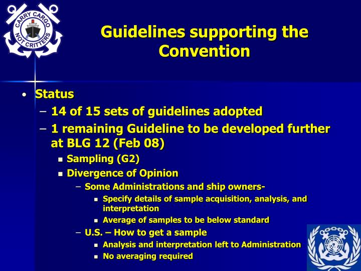 Guidelines supporting the Convention