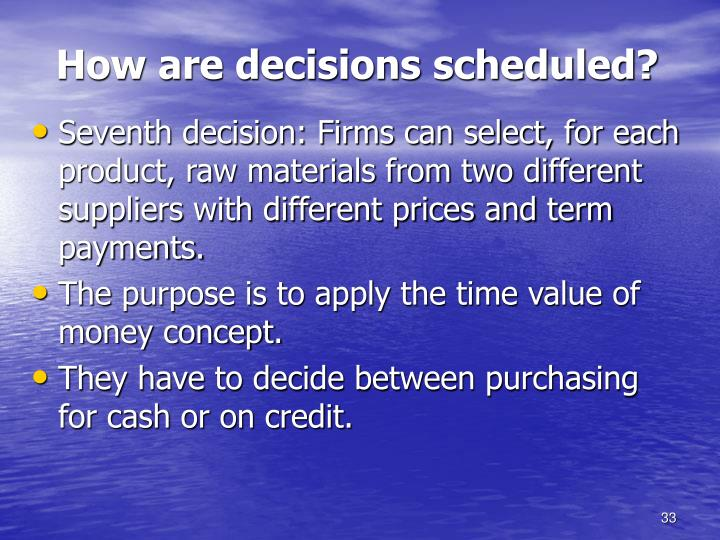 How are decisions scheduled?