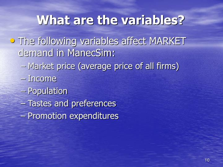 What are the variables?