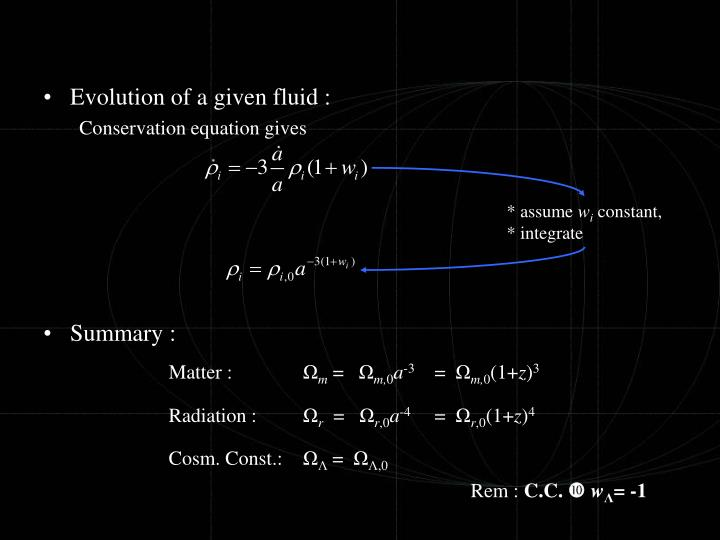 Evolution of a given fluid :