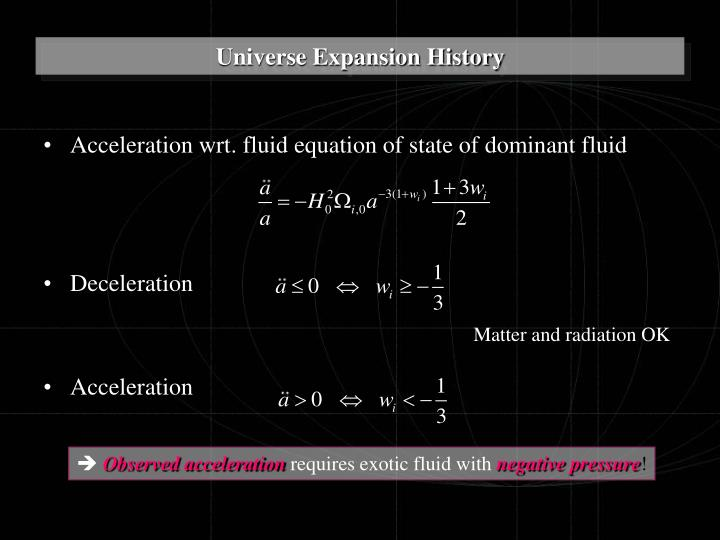 Acceleration wrt. fluid equation of state of dominant fluid