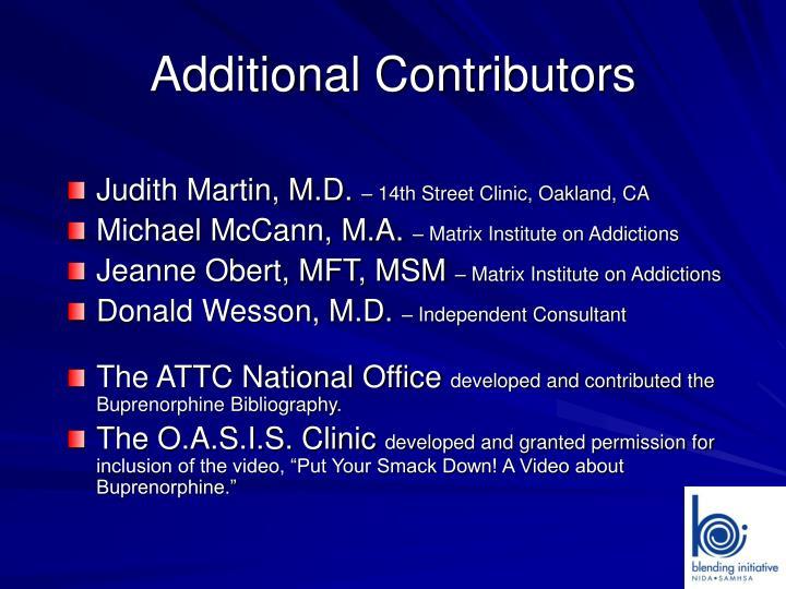 Additional Contributors