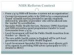 nhs reform context