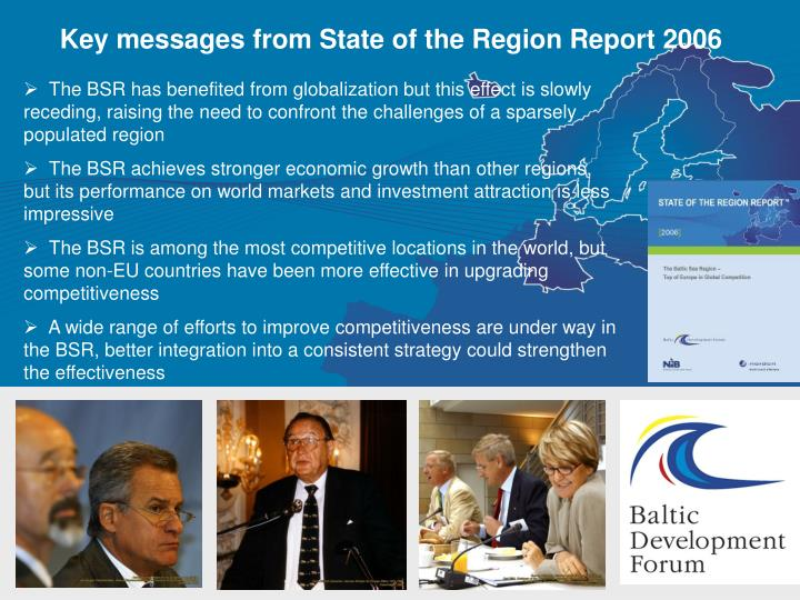 Key messages from State of the Region Report 2006
