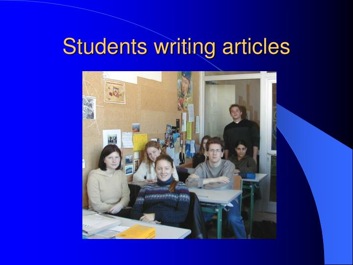 Students writing articles