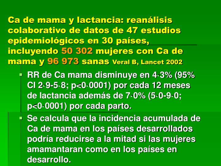 Ca de mama y lactancia: reanálisis colaborativo de datos de 47 estudios epidemiológicos en 30 países, incluyendo