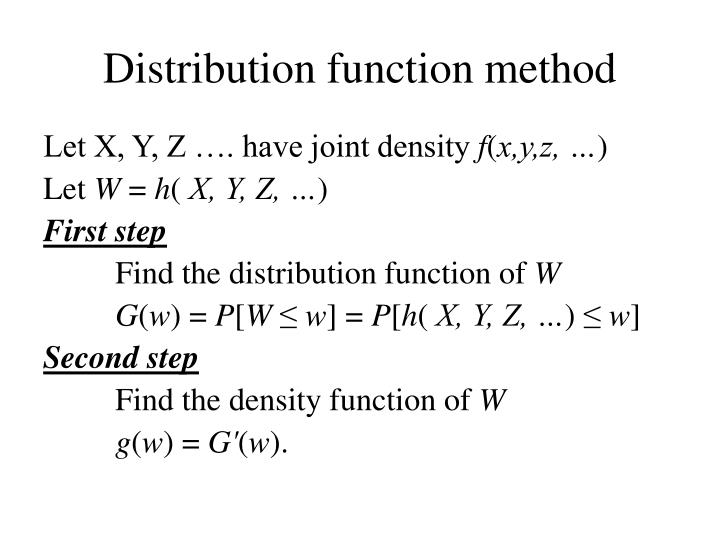Distribution function method