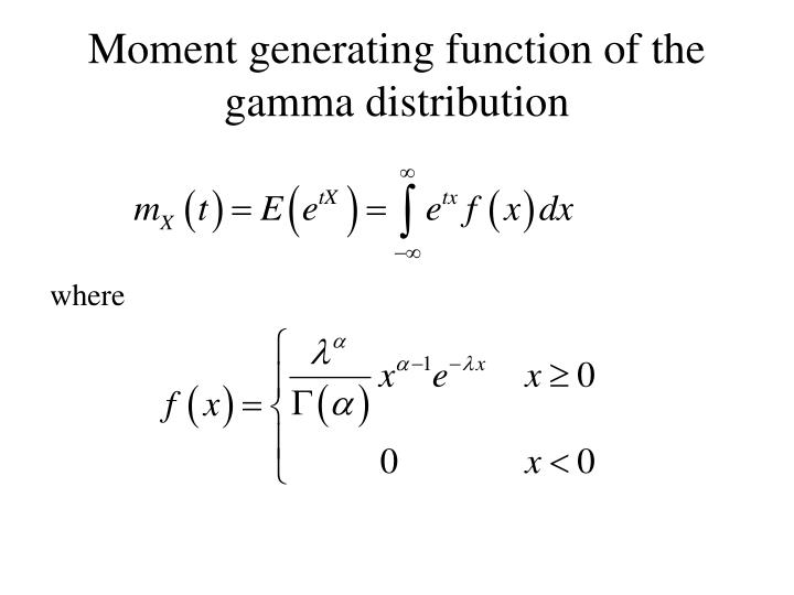 Moment generating function of the gamma distribution