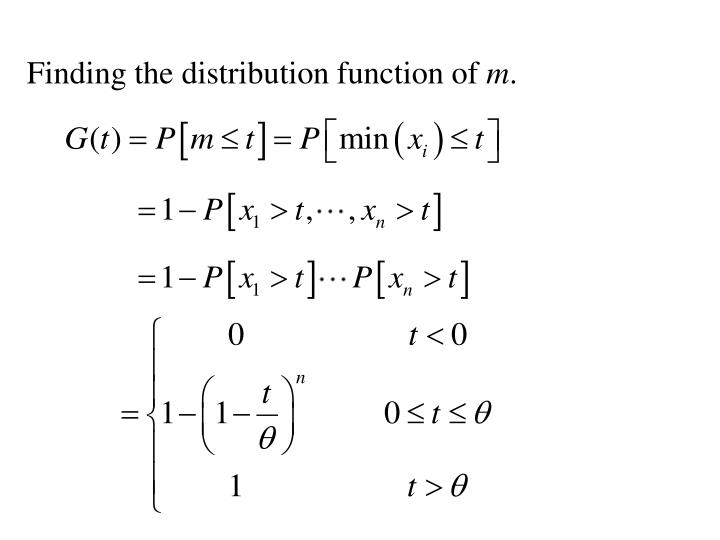 Finding the distribution function of