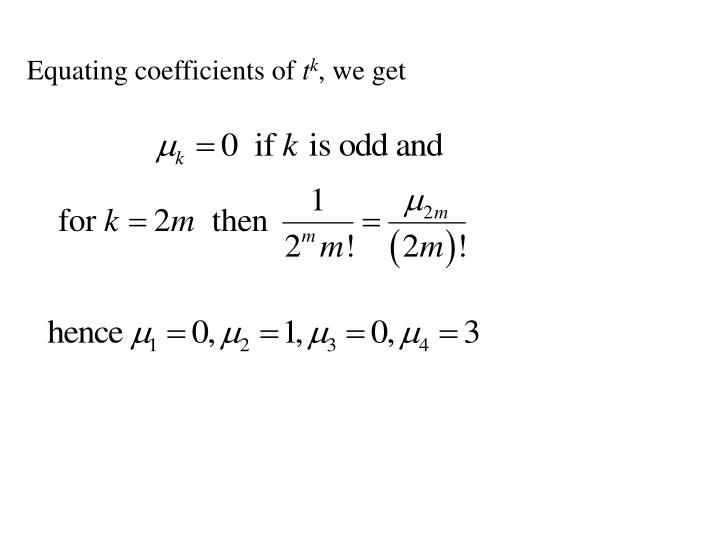 Equating coefficients of