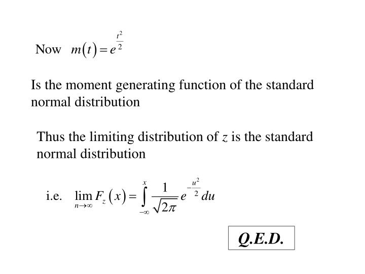 Is the moment generating function of the standard normal distribution