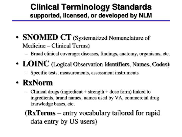 Clinical Terminology Standards