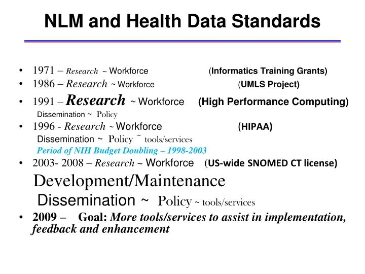 NLM and Health Data Standards