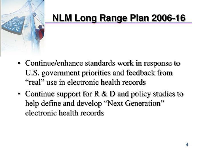 NLM Long Range Plan 2006-16