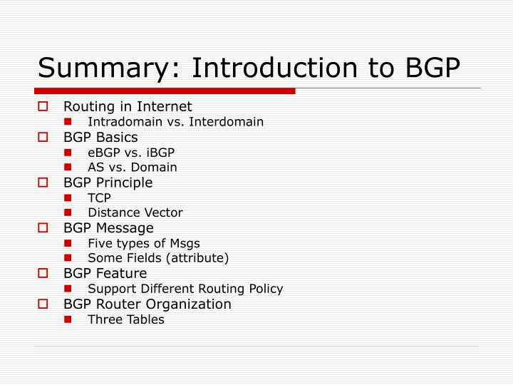 Summary: Introduction to BGP