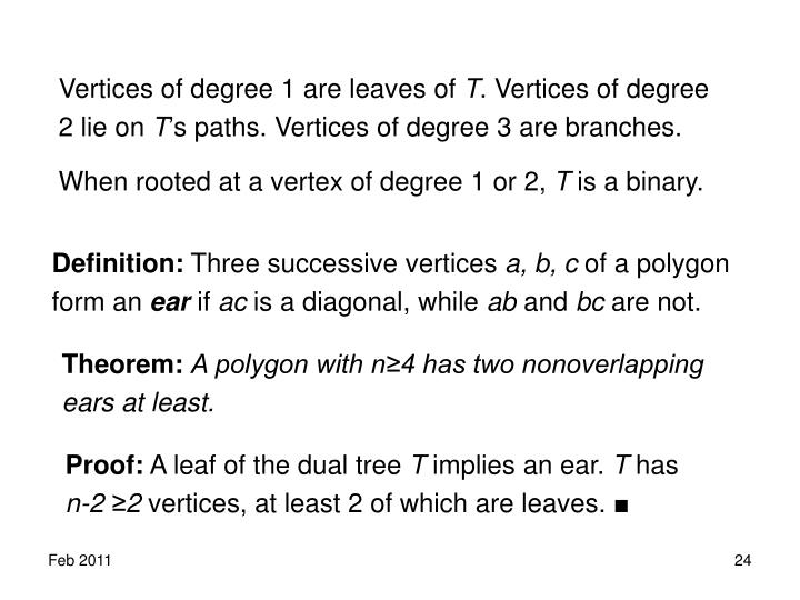Vertices of degree 1 are leaves of