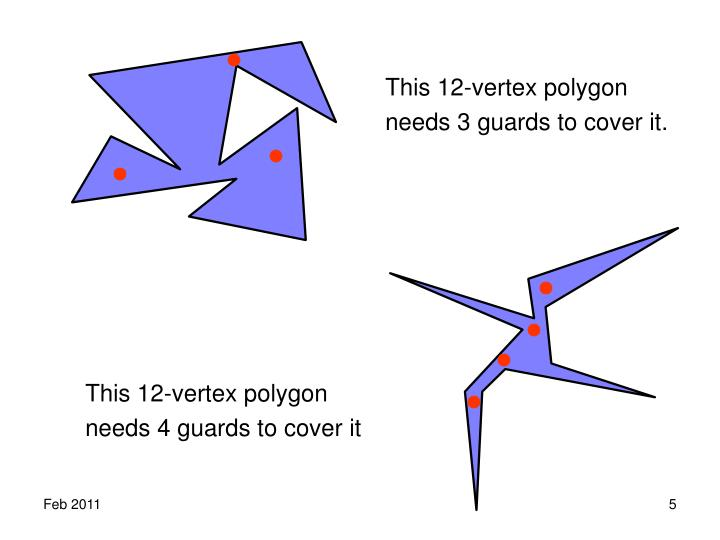 This 12-vertex polygon needs 3 guards to cover it.