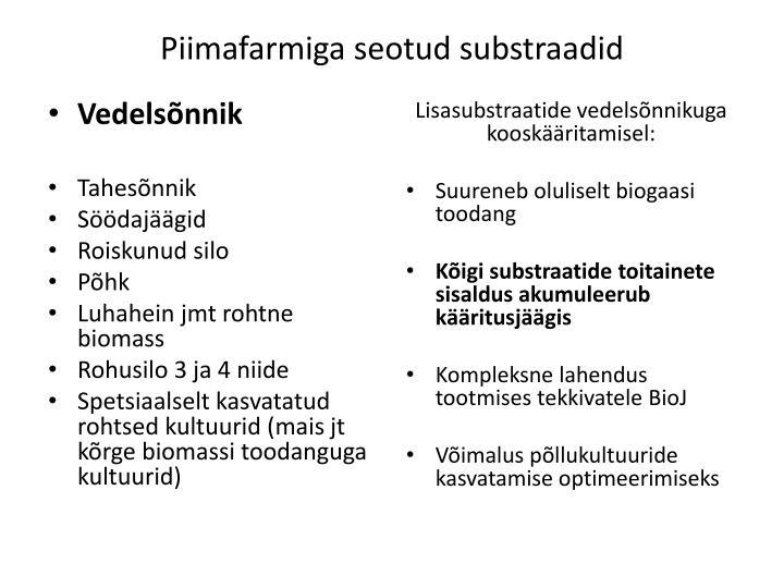 Piimafarmiga seotud substraadid