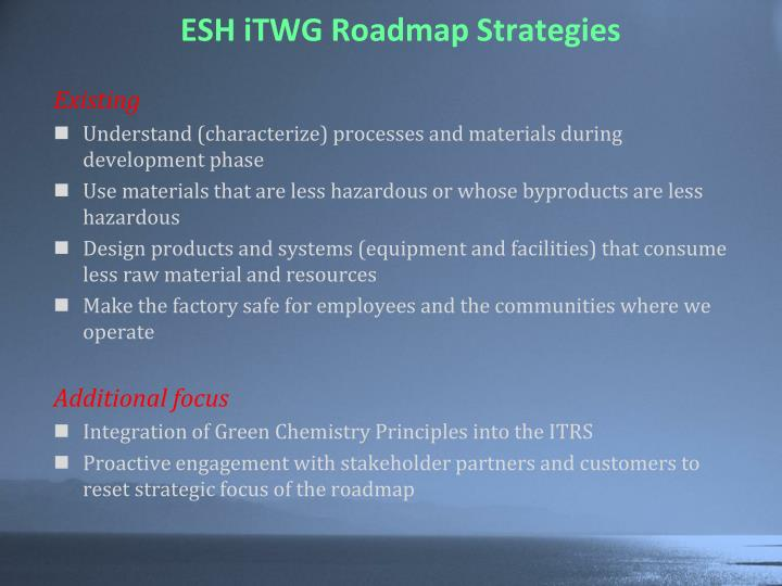 ESH iTWG Roadmap Strategies