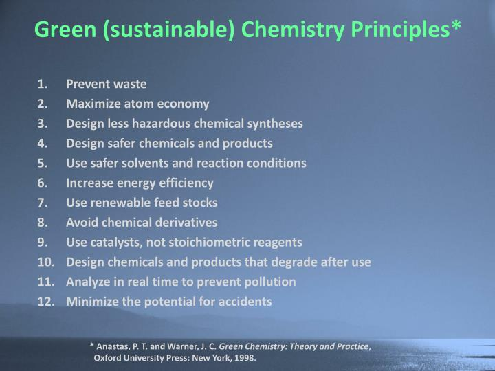 Green (sustainable) Chemistry Principles*