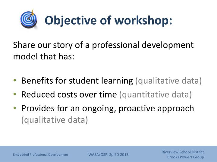 Objective of workshop: