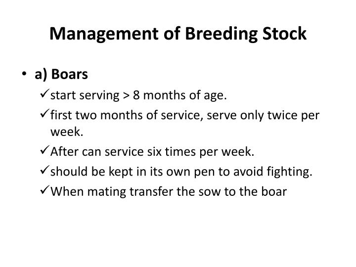 Management of Breeding Stock