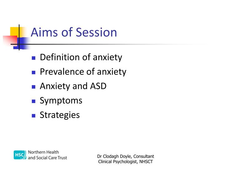 Aims of session
