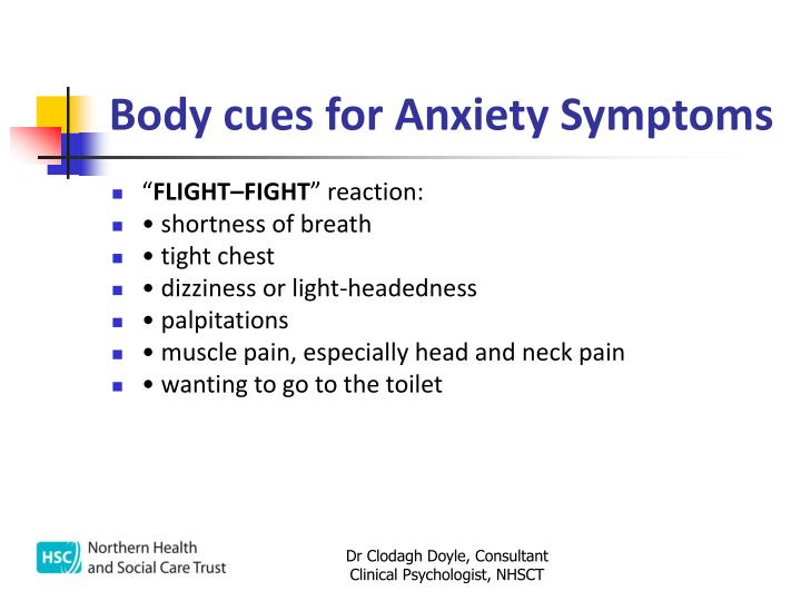 Body cues for Anxiety Symptoms