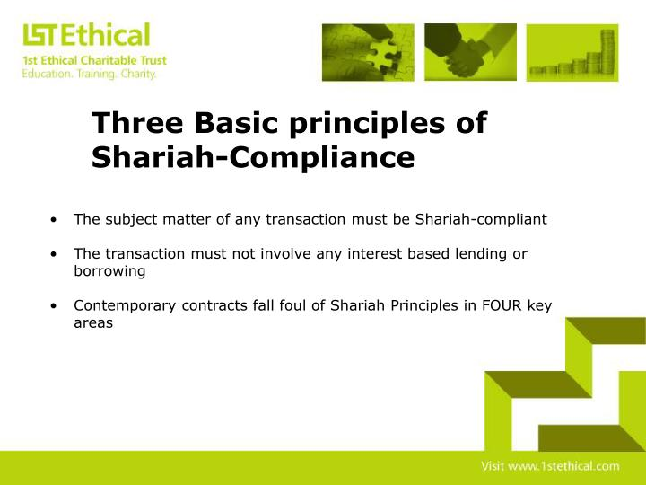 Three Basic principles of 			Shariah-Compliance