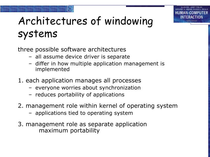 Architectures of windowing systems