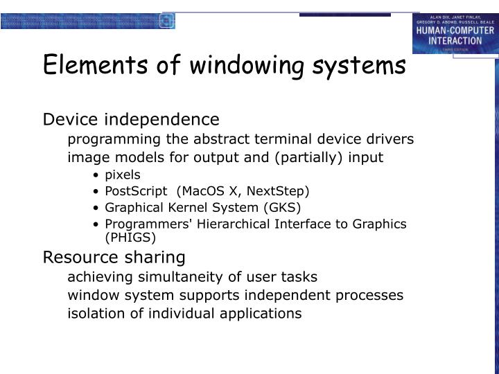 Elements of windowing systems