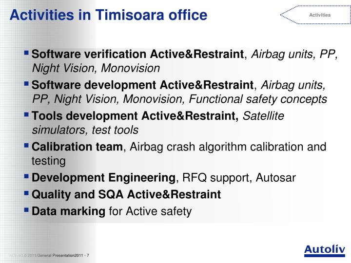 Activities in Timisoara office