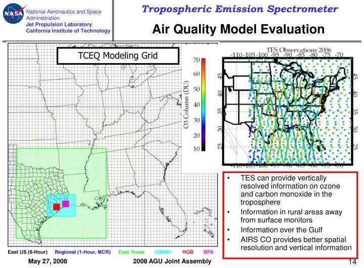 TES can provide vertically resolved information on ozone and carbon monoxide in the troposphere